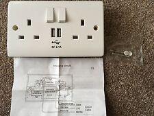 Mains Reino Unido 13, parte 2 la cuadrilla Doble Potencia Enchufe De Pared cara placa de carga USB Puerto de salida
