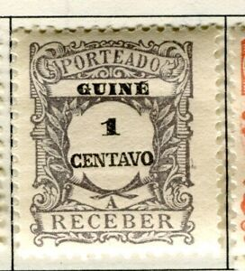 PORTUGUESE GUINEA;   Early 1900s Postage Due issue Mint hinged 1c. value