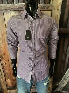 Hugo Boss LS Dark Purple & White Stripe Dress Shirt Medium Regular Fit NWT $98
