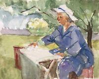Acquerello Donna Con Cappello Am Tavolo IN Giardino Sotto Uno Albero 30 X 24 CM