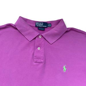 "Vintage RALPH LAUREN Polo Shirt | 2XL XXL | Purple Slim Short Sleeve 48"" Chest"