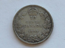 1903-H Canada Silver Ten Cents Edward VII Canadian Coin D3736