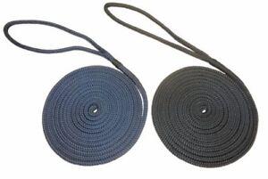Pre-Spliced Polyester Braided Docklines Mooring Ropes Black Navy Blue 12mm 14mm