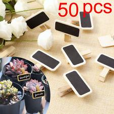 50pcs Mini Clip Pinza de Madera con Tablero Recordatorio de Pizarra de Tiza