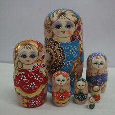 7pcs Stacking Matryoshka Handmade Wooden Russian Nesting Dolls traditional Toys