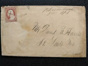 Illinois: Rhoades Point 1850s #11 Cover, Ms, SCARCE DPO Macoupin Co