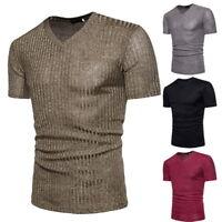 Hommes V-cou à manches courtes loisirs La chemise Slim Fit T-shirt Tops Mode