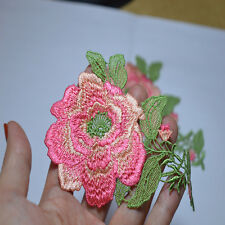 5pcs/lot pink flower green leaves Floral Embroidered Lace Applique Patches