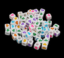 100 White & Coloured Mixed Heart Cube Beads 6mm