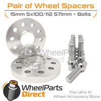 Wheel Spacers (2) & Bolts 15mm for Audi TT Mk2 [8J] 06-14 On Original Wheels