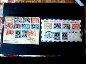 2  1947 San Marino Roosevelt Stamp Covers ( 18 total stamps ) LOWER PRICE