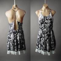 Graphic Dark Black White Floral Print Strappy Tiered Slip Sun 224 mv Dress S M L