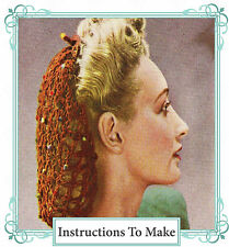Vintage 1940s wartime crochet patterns-How to make 2 hair snoods