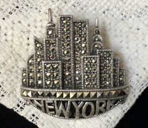 Sterling Silver Judith Jack Pin covered in Marcasites New York w Twin Towers
