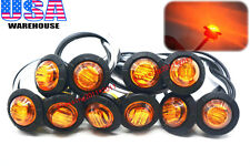 "10x 3/4"" Marker Lights Triple Diode LED Truck Trailer Clearance Indicator Yellow"