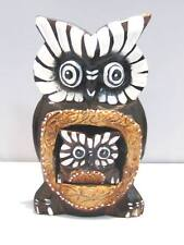 "Wooden Owl Mom Baby Hand Carved Wood Bali Home Decor Sculpture 6"" #775"
