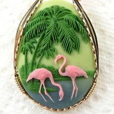 Pink Flamingo Cameo Pendant 14K Rolled Gold Jewelry Multi-Color Resin