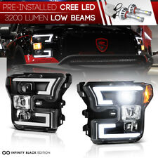 """""""Built-In LED Low Beam"""" 2015-2017 Ford F150 [TRON STYLE] Black Head Lights Lamps"""