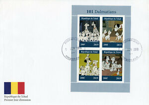 Chad 2019 FDC 101 Dalmatians 4v M/S Cover Dogs Disney Cartoons Animation Stamps