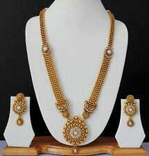 Indian Bollywood Haar Necklace Ethnic Rani Traditional Long gold Jewelry Set