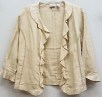 CHICOS Size 3 Beige Tan Ruffle Open Front Thin Linen Jacket Blazer Top