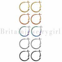 5pairs Stainless Steel Women Girls Big Circle Huggie Hoop Round Dangle Earrings
