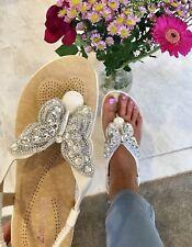 Rhinestone Women Crystal Butterfly FlipFlop Beach Sandal Gladiator Sz 38,5 Wedge