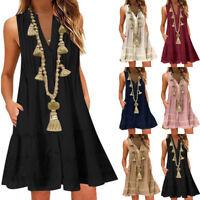 Womens V Neck Boho Maxi Dress Summer Beach Kaftan Baggy Mini Sundress Plus Size