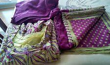 Bollywood Indian Punjabi  Salwar Kameez Tailored Suit Purple Henna Green Sequins
