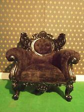 Gothic Dead Black Designer Mahogany French Armchair Sofa love seat prop movie