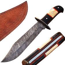 WHITE DEER Hulking Damascus BOWIE Knife Handmade w Guard XXL Grip PATTERN WELDED