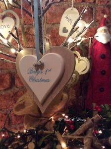 Babys 1st Christmas Hanging Heart Heaven Sends Boys Girls Wish and Dream