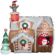 Christmas Inflatable Animated Santa in Gingerbread House Airblown By Gemmy
