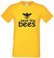 SAVE THE BEES T-SHIRT - YELLOW COTTON NATURE MENS LADIES KIDS - SIZES TO 3XL