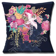 "Japanese Asian Oriental 16""x16"" 40cm Cushion Cover Flowers Butterflies & Crane"