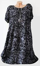 Lagenlook SOMMER Kleid Tunika  EG ca  44 46 48?? A-Linie NEU Batiks chwarz grau
