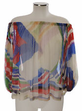 Chanel Camicia 100% SETA 34 36 38 COLORATO tunica SILK BLOUSE soie Top