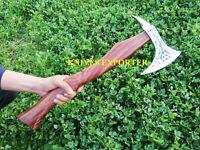 Blacksmith New Custom Handmade Carbon Steel Viking Bearded Axe, Rose Wood Handle