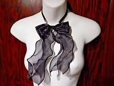 ORGANZA SHEER BLACK PUSSY BOW NECKLACE ribbon velvet necklace gothic lolita 5Y