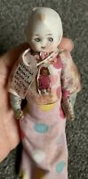 """MINIATURE artist Antique Bisque Face Doll BEAR by Katy Nissen 5"""" Jointed W/tag"""