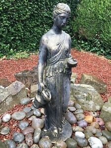 GARDEN STATUE OF LADY POURING WATER, BRONZE EFFECT