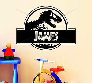 Personalised Jurassic Park Name Dinosaur Décor Vinyl Wall Sticker Decal Bedroom