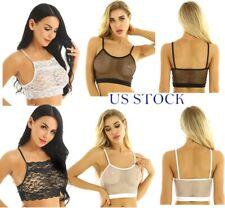 US Womens Lace Sheer Bra Tops Bralette Fishnet Yoga Sport Vest See Trotugh Cami