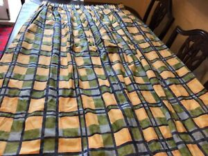 Vintage Retro Curtains by DRAPERITE. 100% COTTON. LINED. BLUE & YELLOW. VGC