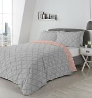 Fusion Brooklyn Geometric Reversible Duvet/Quilt Cover Bedding Set Grey/Coral
