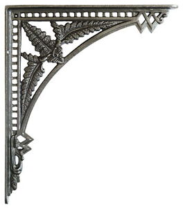 "Pair Cast Iron Fern Shelf Brackets - antique wall bracket 12""(29cm) x 10""(24cm)"