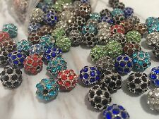 10 Pcs Mix Colour Crystal Rhinestone Spacer Beads Findings 10mm Round ball beads