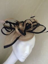 Large Beige Navy Blue Headband Fascinator Wedding Ladies Day Hair Accessories