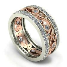Crystal 925 Flower Silver Engagement Wedding Ring Hoop Women Ring Band Girl Gift