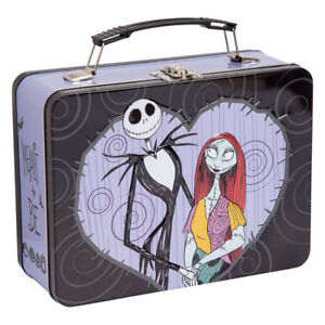 The Nightmare Before Christmas Jack and Sally Hearts Carry All Tin Tote Lunchbox